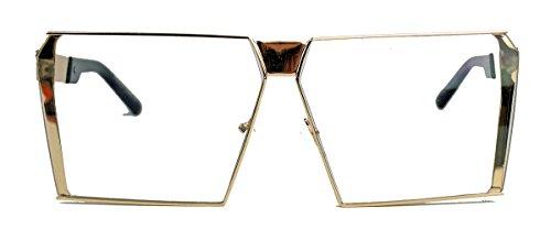 Große Flat Top Brille Blogger Fashion Metallrahmen Klarglas gold FLT83