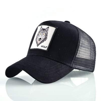 Imagen de qqyz2323 animales de la moda bordado béisbol  hombres mujeres snapback hip hop sombrero verano transpirable malla sol  unisex streetwear hueso lobo negro