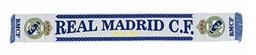Bufanda Real Madrid clásica blanca telar