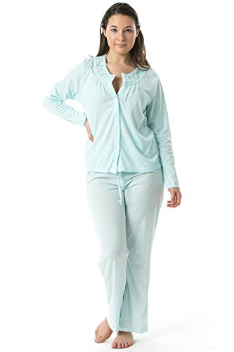 Casual nights Damen Schlafanzug One Size Gr. XXL, Dots/Green -