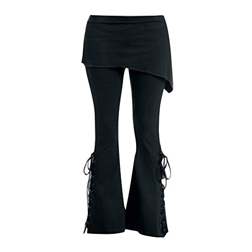 Damen Gothic Hose Schlaghose Lange Skinny Lace Up Mini Rock Schwarze Hosen Pants Chinos Hose Leggings Retro Hoch Taille Hose L Kootk (Hohe Mini Taille)