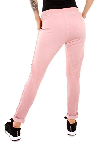 Easy Young Fashion Damen Vintage Sweathose Pailletten Stern Rosé