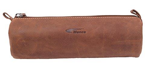 Menzo Vintage Federmäppchen aus echten Leder, Federtasche, Federmappe, Stifte, Schule, für Jungen...