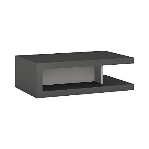 Furniture to Go Table Basse Design sur roulettes. Platine/Gris Brillant, Bois