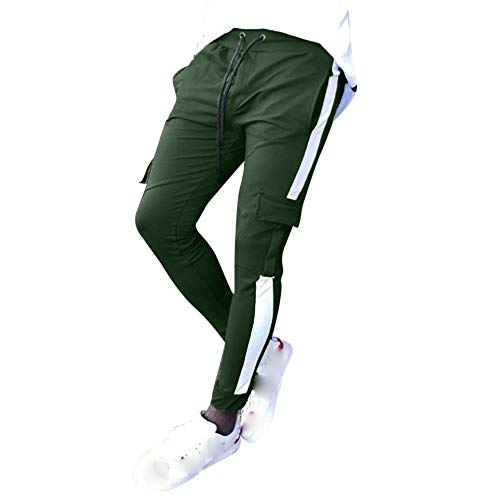Geili Sporthose Herren Lang Modern Kontrastfarbe Multi-Tasche Freizeithose Slim Fit Skinny Jogginghose Jogger Hose Große Größen Trainingshose Sweatpants mit Kordelzug