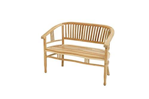 Ploß Sitzbank New Orleans 120 cm - Holz-Gartenbank für 2 Personen - Balkonbank halbrund mit Armlehnen & Rückenlehne - Massivholzbank mit SVLK-Zertifikat - Bank aus Teakholz -...
