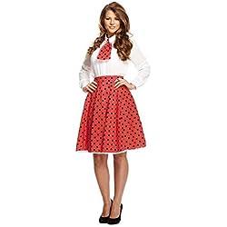 Disfraz Adulto De Lunares falda / Corbata Rojo