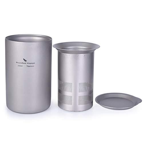 iBasingo 350 ml Titan Doppelschicht Teetasse mit Filter Deckel Im Freien Camping Tee Becher Set für Picknick Wandern Reisen Heimgebrauch Garten Tee-set