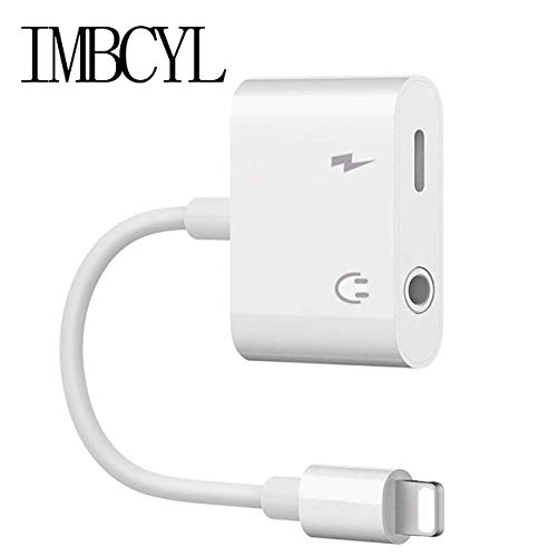Nonsny Headphones Adapter Dongle Connector Jack Splitter Cable Accessories Suppor All iOS-White
