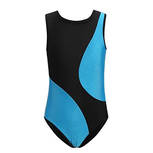 Rowentauk ärmellose Gymnastikanzüge für Mädchen Color Matching Kids Einteilige Gymnastik Athletic Trikot Kostüm Dancewear (Matching Mädchen Kostüm)