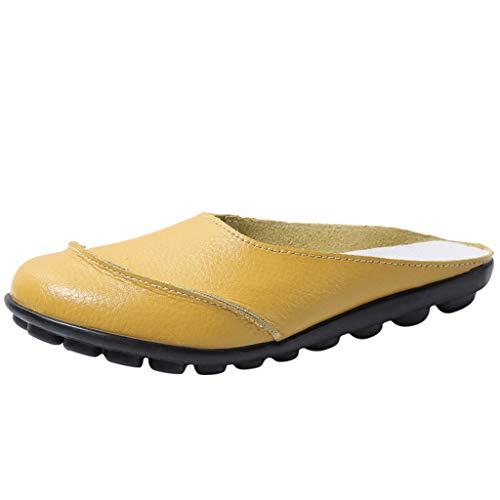 Fannyfuny Pantoletten Damen Schlappen Pantoffeln Vorne Geschlossene Sandalen Frauen Weiche Flache Sandalen Faule Schuhe Beach Sandal Schwarz, Gelb, Dunkelblau, Wein, Weiß 35-44