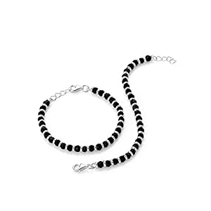Arisidh Black Beads Crystal 925 Sterling Silver Nazariya For Baby Boy & Baby Girl