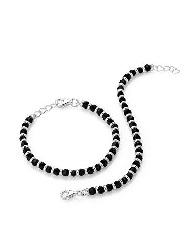 Arisidh Black Beads Crystal 925 Sterling Silver Nazariya For Baby Boy & Baby Girl