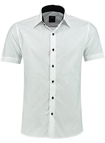 Jeel Herren-Hemd – Slim-Fit – Bügelleicht – Business, Hochzeit, Freizeit – Kurzarm-Hemd für Männer 105 Weiß M