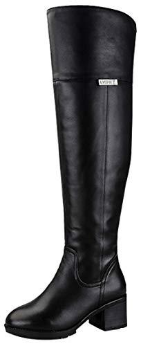 RSHENG Stiefel Damen über Dem Knie Warmes Futter Stiefel High Heel Mode Baumwolle Schuhe,3-38EU