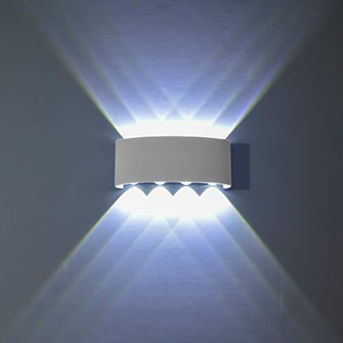 PHOEWON Wandleuchte LED Innen, 8W Modern LED Licht Wandlampe Aluminium Leuchten Wandlicht Oben Unten Lampen Spotlicht, Wandleuchte für Schlafzimmer, Wohnzimmer, Korridor -Kaltes Weißes Licht -