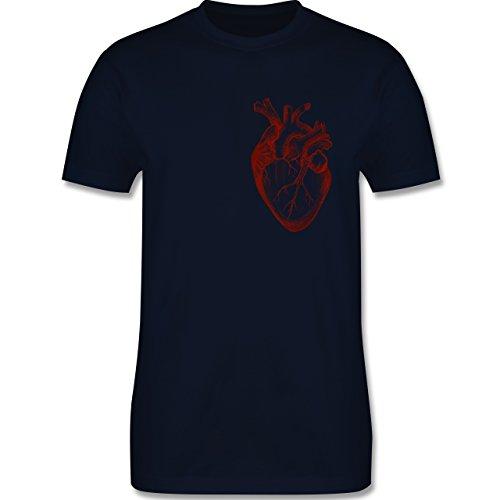 Nerds & Geeks - Herz Anatomie - Herren Premium T-Shirt Navy Blau