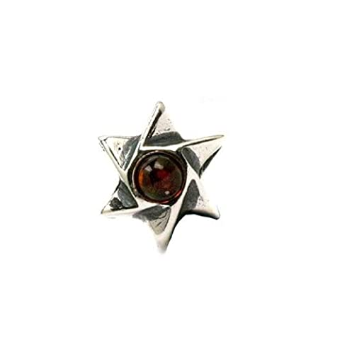 Baltic Honey Amber Sterling Silver Small Star of David Charm