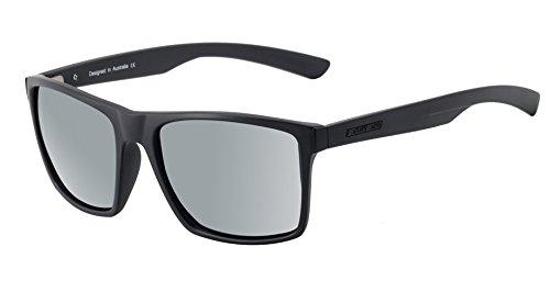 Dirty Dog Volcano Wayfarer Sonnenbrille In Satin Schwarz mit Silber Spiegel Objektiv