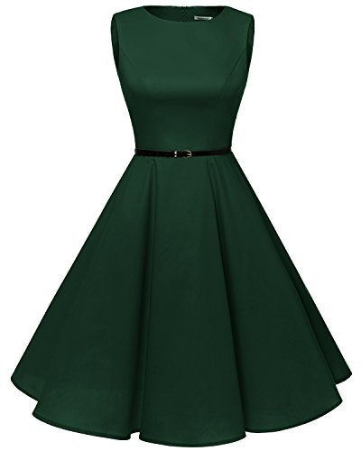 bbonlinedress 50s Retro Schwingen Vintage Rockabilly Kleid Faltenrock Green L