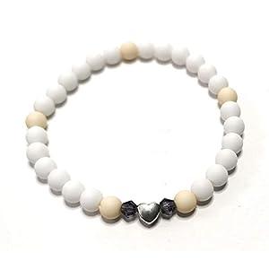 Armband dezent, elastisches Armband Perlen, weiss/beige, Herz, Swarovski®, BRe-Art