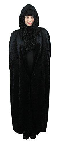 Ilovefancydress - Mantello Lungo Da Vampiro In Velluto Con Cappuccio, Completo Di Trucco Nero, Rosso E Bianco