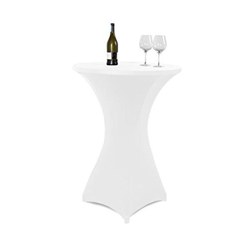 Vanage Stretch-Husse für Stehtische / Bistrotische in weiß - Stehtischhusse für einen Tischdurchmesser von 70 - 80 cm - Outdoor-Tischdecken für Feiern und Veranstaltungen - eleganter Tischüberzug