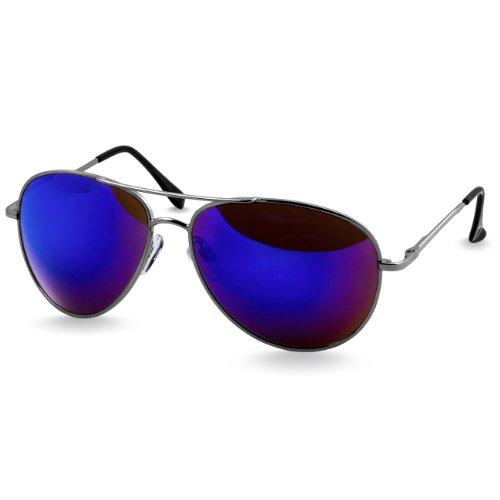 Caspar SG013 klassische Unisex Retro Piloten Sonnenbrille, Farbe:silber/blau verspiegelt