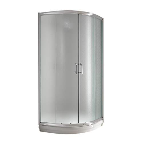 Eckeinstieg Duschkabine Runddusche 90x90 H200 Satiniert 5mm Glas Mod. Alabama