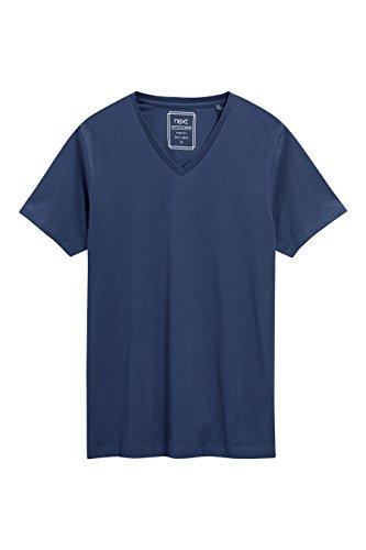 next Herren T Shirt Kurzarm V-Ausschnitt Normale Passform Unifarben Top T-Shirt Marineblau