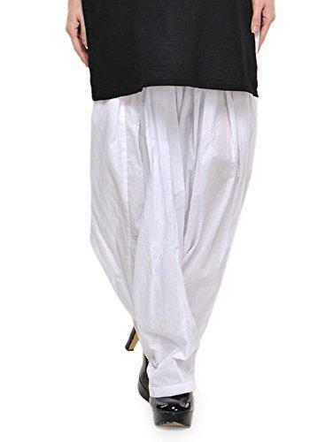 Stylenmart Women Cotton Solid Full Patiala Salwar (Stmapa078632 _White _Free Size)