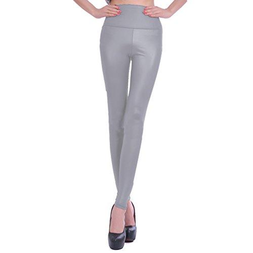 LvRao Damen Kunstleder Glänzende Leggings Hohe Taille Leder Look Hose Stretch Polyester Leggings # Grau L