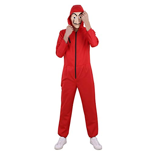 Iefiel tuta costume da rapinatore la casa di carta per adulto cosplay uomo carnevale halloween festa party body rosso con maschera cappuccio donna unisex rosso l