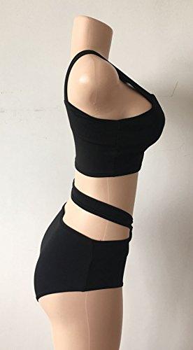 Moolecole Frauen Criss Cross Bandage Hohe Taille Sexy Bikini Set Badeanzug Schwarz
