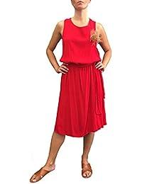 TWISTER Vestito Donna Stile Impero Cinta in Vita Dettaglio Spilla Fiore  Made in Italy più Taglie 8a45ba64507