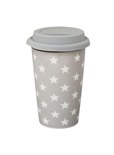 Travel mug gris clair avec étoiles blanches de la marque krasilnikoff
