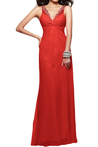 Victory Bridal V Ausschnitt Pailletten Abendkleider Partykleider Ballkleider Promkleider Lang Rot