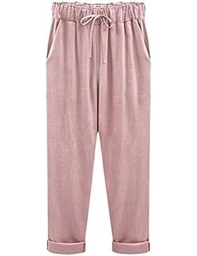 BLACKMYTH Mujer Casula Algodón Lino Suelto Thin Pants Corto 3/4 Pantalones Tallas Grandes