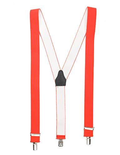 Shenky - bretelle con 3 clip resistenti - uomo/donna - arancione fluo