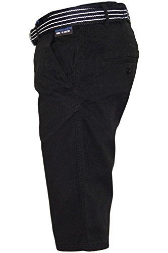 New Mens Kushiro City Casual Chino 100% Cotton Zip Fly Free Belted Beach Shorts Black
