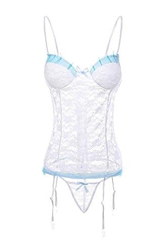 Creamlin Women Stretch Lace Bustier with Garter Belts (White)
