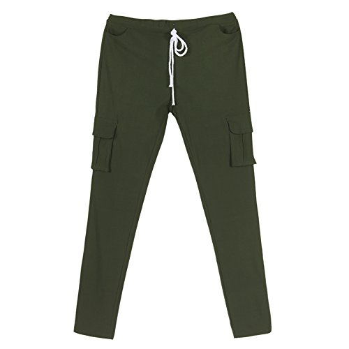 LAEMILIA Femme Pantalons Jeans Sexy Taille Haute Slim Legging Cordon Poche Crayon Casual Pantalons Vert