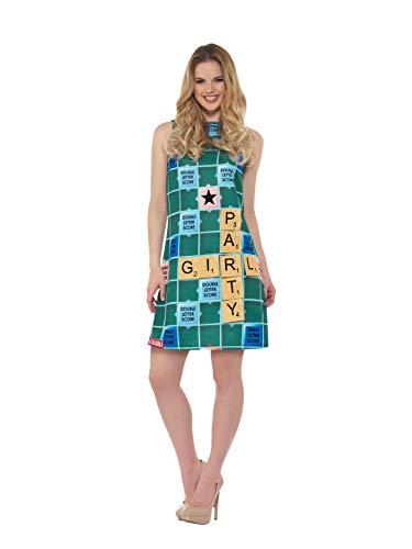 Buchstaben Kostüm Scrabble - Smiffys SMIFFY 'S 42999M Offizielles Lizenzprodukt Scrabble Kostüm, grün, M-UK Größe 12-14