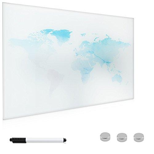 Navaris lavagna magnetica bianca di vetro - lavagnetta scrivibile memoboard 60x40 cm con mappamondo - bacheca con pennarello magneti ganci