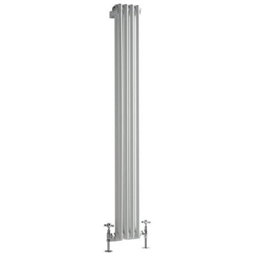Milano Radiador de Diseño Vertical Doble Tradicional - Blanco - 1500mm x 203mm x 68mm - 548 Vatios - Regent