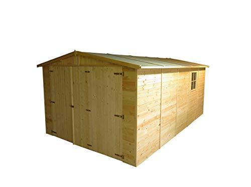 Generico - Garage exterior madera 500 x 300 x 222/192 cm madera de pino 19 mm grueso sin tratamiento