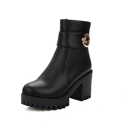 AllhqFashion Damen Hoher Absatz Niedrig-Spitze Eingelegt Stiefel mit Metallisch Schwarz