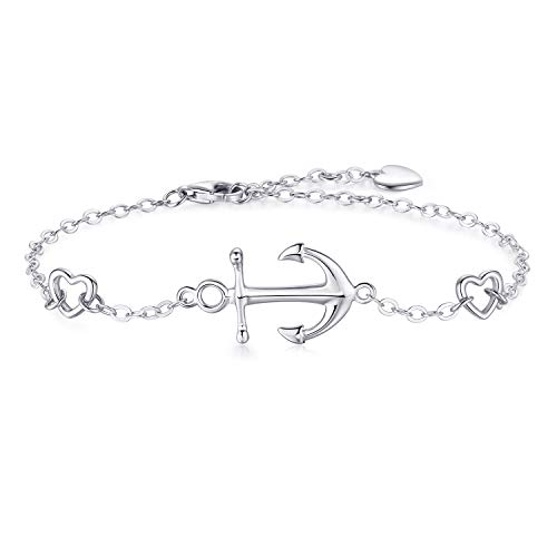 Essie Odila Silber Anker Armband Damen 18 Karat Weißgold überzogen 925 Sterling Silber Viel Glück Bettelarmband Frauen Geschenke für Mädchen