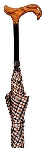 Classic Canes Gehstock mit kariertem Regenschirm von 100cm Durchmesser, höhenverstellbar