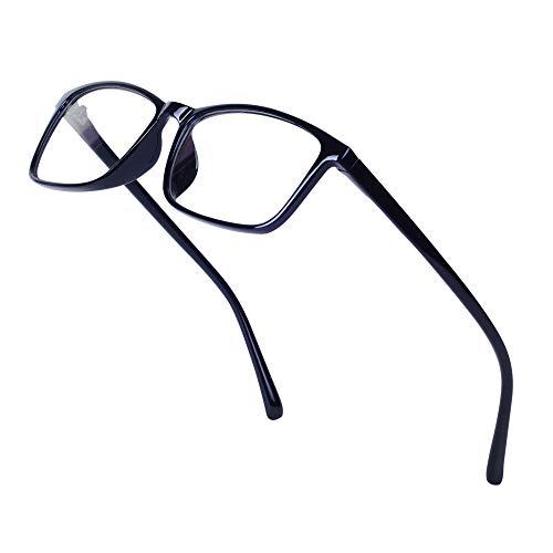 JoXiGo Nerd Brille Damen Herren Ohne Stärke Rechteckig Rahmen Klar Linse Brillenfassung mit Etui - Hell Schwarz -